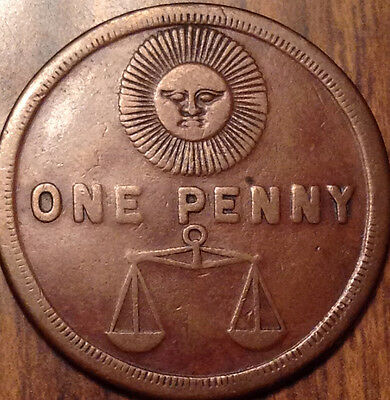 Mason One Penny Token Daless With Sun K.s.h.t.w.s.s.t