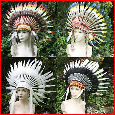 GOOSE Indian Head Dress Native Red Chief Headdress War Bonnet Feathers Fancy