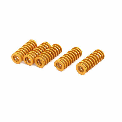 8mm Outer Dia 20mm Length Lightest Load Compression Mould Die Spring Yellow 5pcs