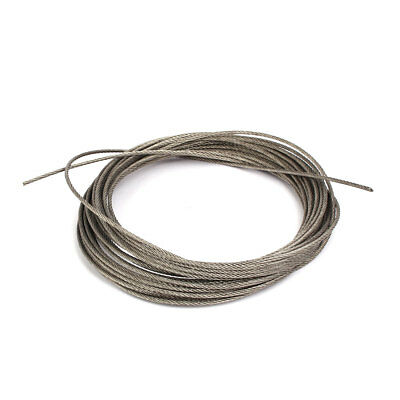 10M Length 2mm Dia Flexible Steel Wire Cable Rope Silver Tone