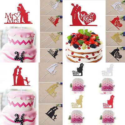 Mr and Mrs Cupcake Cake Topper Glitter Engagement Party Wedding Valentine Decor