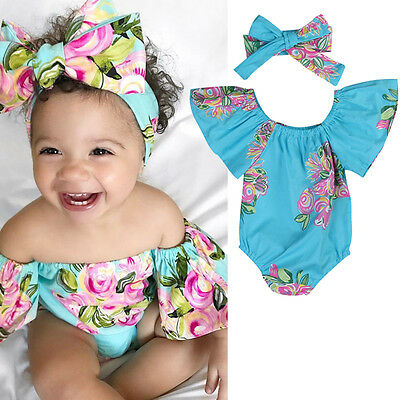 Cute Newborn Baby Girl Romper Bodysuit + Headband Outfits Floral Sunsuit Clothes