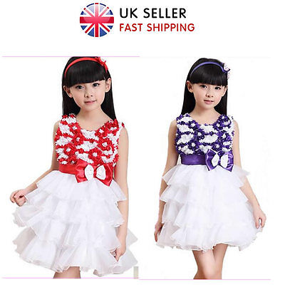 UK Girl Layered Flower Dress Formal Prom Party Wedding Bridesmaid Age 5-12 Years