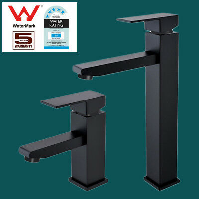 Bathroom Vanity Basin Faucet Square Matte Black Brass Flick Mixer Tap Luxury