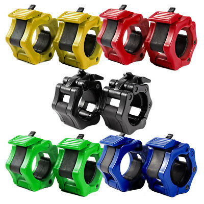 """1"""" 25mm Weight Bar Collars Barbell Dumbbell Locking Spring Clamps Lock Jaw Set"""