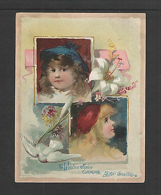 """1880s LION COFFEE EASTER GIRLS DOVE TOLEDO O VICTORIAN TRADE CARD Lg 5"""" X 6.75"""""""