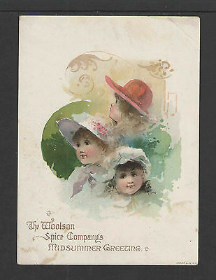 "1880s LION COFFEE MIDSUMMER 3 GIRLS TOLEDO OH VICTORIAN TRADE CARD Lg 5"" X 6.75"""