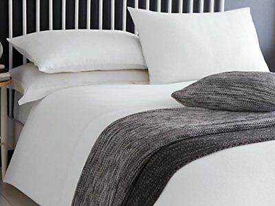 100% Cotton Ashlea Waffle Effect Duvet Quilt Cover Bedding Sets - Grey or White