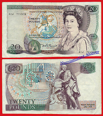 REINO UNIDO GREAT BRITAIN 20 Pounds 1970-1991 SIGN Somerset Pick 380d  BC / F