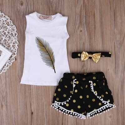 3PCS Toddler Baby Girls T-shirt Vest Tops+Pants Shorts Kids Clothes Outfits Set