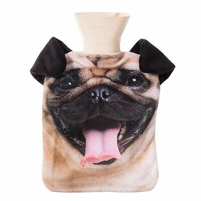 NEW Pug Dog Hot Water Bottle Pet Hotty With Removable Cover and Plush Ears