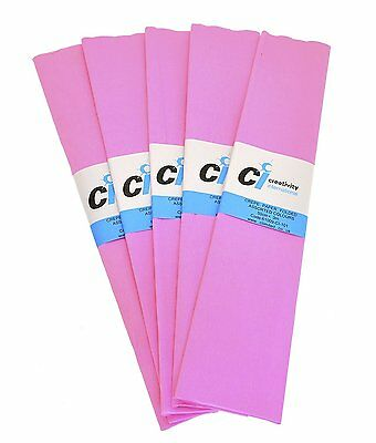 Ci Tissue 50 cm x 3 m Paper Crepe Folds Colours Pack of 10 Pink