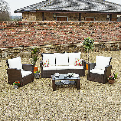 New 5 Seater Sofa Table Set Rattan Weave Garden Furniture Patio Conservatory