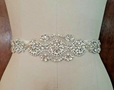 "Wedding Dress Sash Belt - Crystal Pearl SASH BELT = 12 1/4"" long"