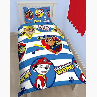 Paw Patrol PawSome Cartoon Print Reversible Children Single Rotary Duvet Bed Set