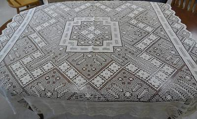 Antique French Handmade  Lace Tablecloth, 56 inch square 1933 wedding gift