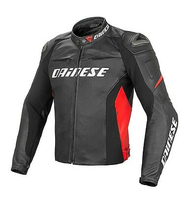 Dainese G. Racing D1 Pelle Black Black Red leather jacket, NEW!