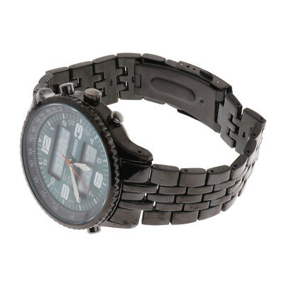 Mens Steel Sport Analog Digital Alarm Backlight Date Day Quartz Wrist Watch