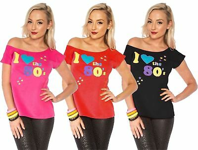 Womens I Love The 80s T-shirt Outfit Ladies Pop Star Top Fancy Dress