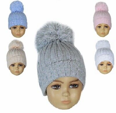Babies winter hat  pom pom CABLE Knit Baby girl boy Pink Blue Grey White