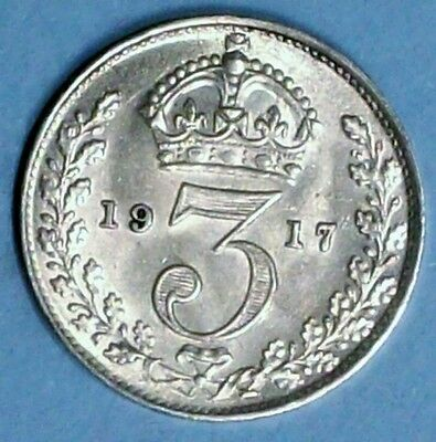 Great Britain 3 Pence 1917 About Uncirculated 0.9250 Silver Coin