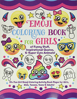 Emoji Adult Colouring Book Cute Happy Fun Unicorns Rainbows Kawaii Japanese