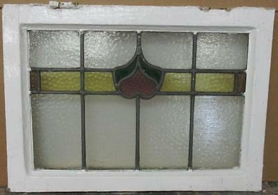 "OLD ENGLISH LEADED STAINED GLASS WINDOW Pretty Heart 21"" x 15"""
