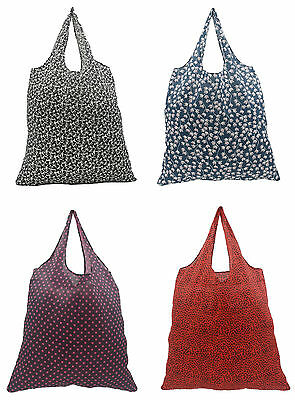 Fold Up Reusable Polyester Shopper Shopping Bag Carrier Bag - 4 Colours