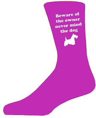Beware of the Scot Terrier On Hot Pink Socks,Great Birthday Gift,Novelty Socks.