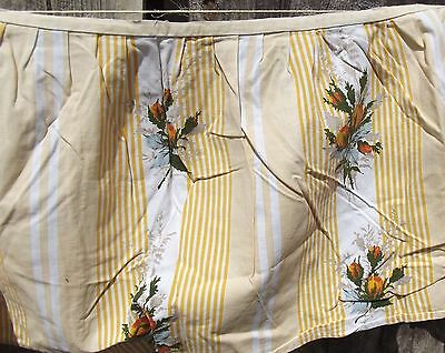 Vintage French Fabric Yellow Rose Ticking Cotton Ruffle Trim Summer Valence