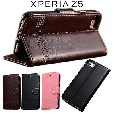 For Sony Xperia Z5 Executive Leather Card Wallet Case Cover Flip Stand Protector