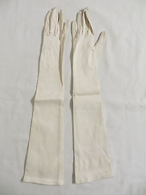 VINTAGE Women's Long Elbow Length Opera Evening Formal Satin Gloves Ivory White