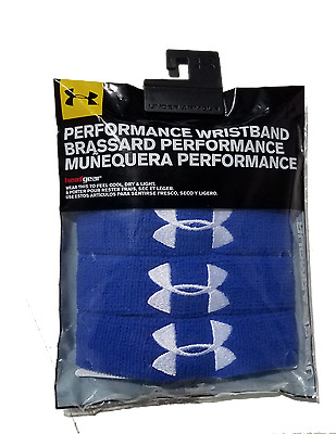 """Under Armour 1"""" Performance Wristbands (4 Pack), Royal/White, OSFA"""