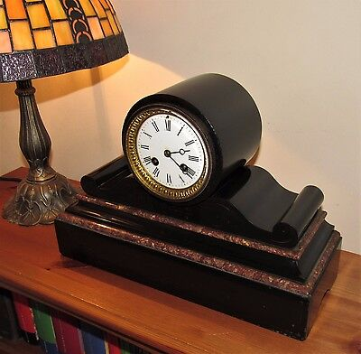 Nice Japy Freres 19th Century 8 Day French Drumhead Mantle Clock.