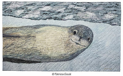 "Leopard Seal, painted and stitched silk landscape - 17"" x 29"""