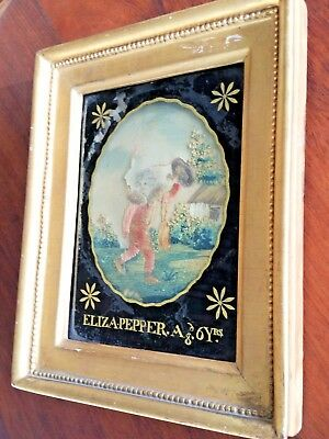 Antique 1800-1830 SILK NEEDLEPOINT EMBROIDERED EMBROIDERY & Paint Framed Sampler