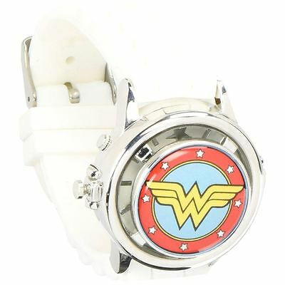 Officially Licensed DC Comics Wonder Woman White Logo Spinner Watch