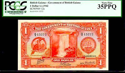 "BRITISH GUIANA P12c ""TOUCAN BIRD"" 1.1.1942 $1 ""KING GEORGE VIth"" PCGS 35PPQ!"