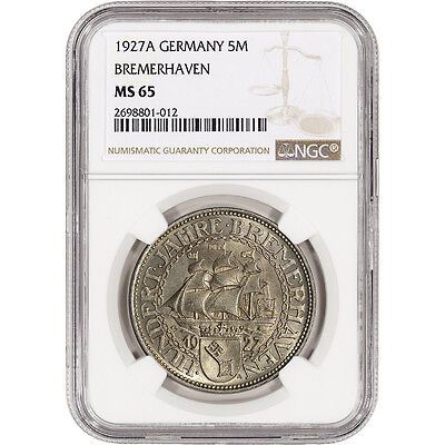 1927 A Germany Bremerhaven Silver 5 Reichsmark - NGC MS65