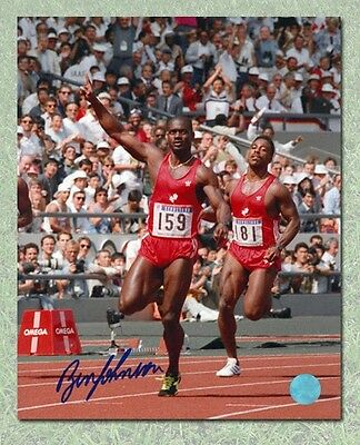 Ben Johnson Canada Autographed 1988 Olympic 100 Meter Record Breaking 8x10 Photo