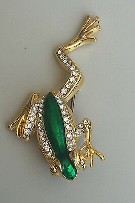 Adorable Vintage Leaping frog  Brooch in Enamel On Gold Tone Metal With Crystals