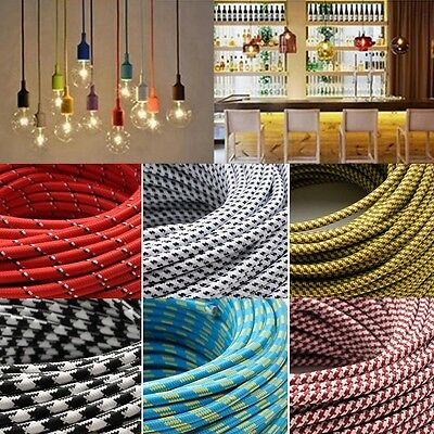 Vintage Color Twist Braided Fabric Cable Wire 2 Core Electric Light Lamp 1/5M