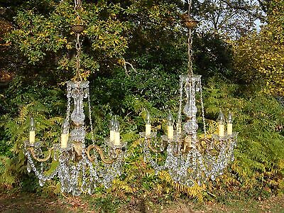 Pretty unusual pair of vintage French 5arm bronze/Glass chandeliers (S2)