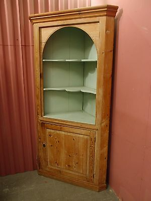 Antique Victorian/georgian Stripped Pine Corner Cabinet With Shaped Shelves