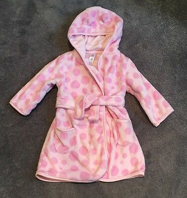 Excellent Condition! Baby Girls Pink Hooded Dressing Gown by TU - Age 1-1.5