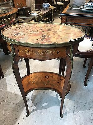 ANTIQUE 19th C French Louis XV Marble Top Inlaid 1 Drawer COMMODE Side Table