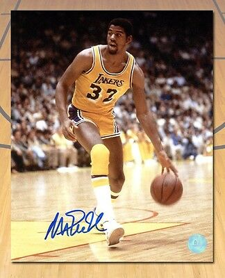 Magic Johnson Los Angeles Lakers Autographed Showtime Basketball 8x10 Photo