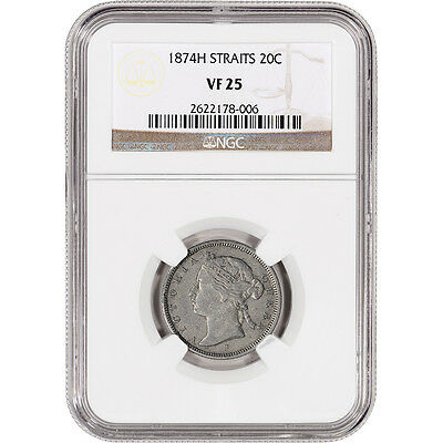 1874 H Straits Settlements Silver 20 Cents 20C - NGC VF25 - Key Date