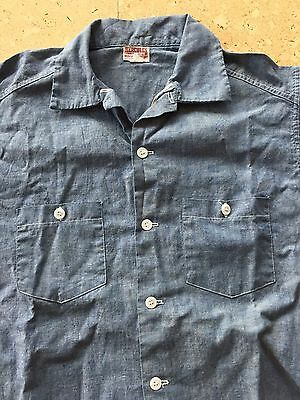 Vintage Shirt, Hercules Sanforized Chambray Shirt Short Sleeved Size M, Sears