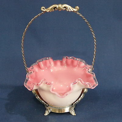 Victorian Brides Basket Pink Case Glass Bowl Crystal Crest ~ Silver Plate Ornate